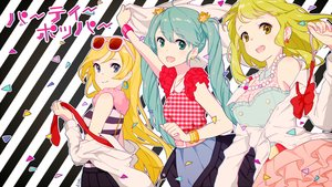 Rating: Safe Score: 78 Tags: blonde_hair blue_hair green_hair gumi hatsune_miku kise_(swimmt) lily_(vocaloid) sunglasses vocaloid User: FormX
