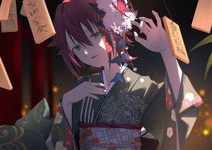 Rating: Safe Score: 40 Tags: flowers green_eyes japanese_clothes kimono original red_hair short_hair yukiyama_momo User: BattlequeenYume