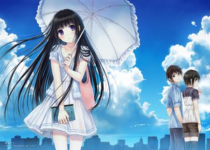 Rating: Safe Score: 166 Tags: book clouds dress kazuharu_kina original purple_eyes sky thighhighs umbrella User: opai