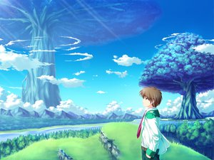 Rating: Safe Score: 24 Tags: alicia_infans all_male brown_eyes brown_hair clouds game_cg grass magus_tale male school_uniform short_hair sky tenmaso tie tree whirlpool User: Oyashiro-sama