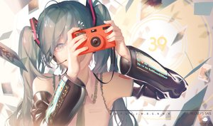 Rating: Safe Score: 52 Tags: camera close hatsune_miku headphones microphone signed spencer_sais twintails vocaloid watermark User: BattlequeenYume