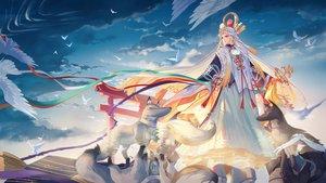 Rating: Safe Score: 62 Tags: animal bird clouds criin_(659503) long_hair miketsu_(onmyouji) onmyouji red_eyes reflection sky torii white_hair wolf User: RyuZU