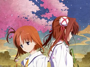 Rating: Safe Score: 10 Tags: asakura_yume blue_eyes brown_hair da_capo_ii orange_hair petals ribbons seifuku short_hair sky tsukishima_koko User: Oyashiro-sama