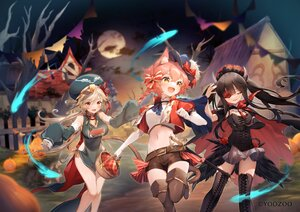 Rating: Safe Score: 58 Tags: animal_ears black_hair blonde_hair braids dress fang halloween horns long_hair moon navel night ponytail pumpkin red:_pride_of_eden shorts sky sumomo_kaze tagme_(character) tail tree twintails waifu2x User: BattlequeenYume