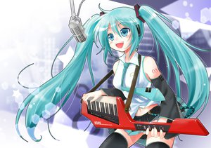 Rating: Safe Score: 24 Tags: blue_eyes blue_hair hatsune_miku instrument long_hair microphone porurin thighhighs twintails vocaloid User: anaraquelk2
