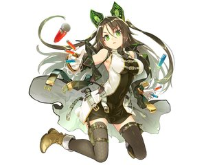 Rating: Safe Score: 98 Tags: brown_hair dress green_eyes long_hair shirabi_(life-is-free) tagme_(character) thighhighs tokyo_shiniki weapon white User: Wiresetc