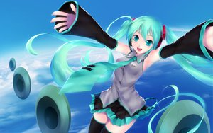 Rating: Safe Score: 102 Tags: aqua_hair cait clouds hatsune_miku signed sky thighhighs twintails vocaloid User: HawthorneKitty