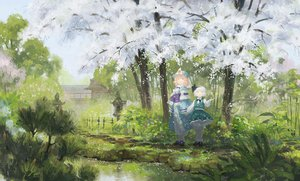 Rating: Safe Score: 45 Tags: headband konpaku_youmu pink_hair saigyouji_yuyuko scenic seeker touhou white_hair User: opai