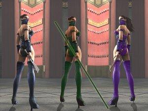 Rating: Safe Score: 3 Tags: 3d ass black_hair jade kitana mask mileena mortal_kombat ninja ponytail skintight thighhighs weapon User: Oyashiro-sama