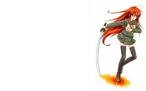 Rating: Safe Score: 20 Tags: bow katana long_hair necklace orange_eyes orange_hair school_uniform shakugan_no_shana shana sword thighhighs weapon white User: Umbra