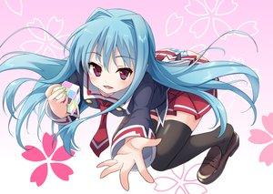 Rating: Safe Score: 21 Tags: blue_hair cube_x_cursed_x_curious fear-in-cube long_hair pink_eyes seifuku skirt thighhighs tie tsukiman User: RyuZU