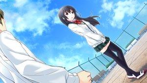 Rating: Safe Score: 79 Tags: bow clouds game_cg hinasaki jirai_soft kawashima_hideya long_hair male skirt sky stockings tsuisou_no_augment umekawa_shiho User: Maboroshi