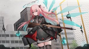 Rating: Safe Score: 49 Tags: ambriel_(arknights) animal arknights bird building food gloves gun halo kinona long_hair pink_hair pocky shirt skirt thighhighs weapon wings zettai_ryouiki User: PrimalAgony