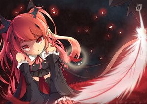 Rating: Safe Score: 88 Tags: animal bat dress feathers gothic krul_tepes long_hair owari_no_seraph pointed_ears red_eyes red_hair ribbons si_xia_daze skirt thighhighs vampire User: kitteh