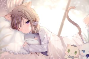 Rating: Safe Score: 169 Tags: animal_ears barefoot bed brown_hair catgirl cropped leo_(mafuyu) mafuyu_(chibi21) original purple_eyes scan short_hair tail wink User: BattlequeenYume