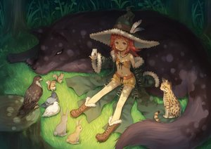 Rating: Safe Score: 48 Tags: animal bird boots cat feathers flat_chest grass hat loli navel necklace orange_eyes original red_hair short_hair shorts tagme_(artist) witch_hat User: RyuZU