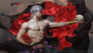 Rating: Safe Score: 76 Tags: all_male dio_brando gray_hair headband jojo_no_kimyou_na_bouken krabat male necklace nipples realistic red_eyes ribbons short_hair skull topless watermark wristwear User: otaku_emmy