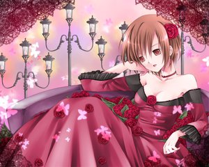 Rating: Safe Score: 24 Tags: dress flowers meiko red rose short_hair vocaloid User: HawthorneKitty