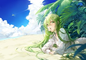 Rating: Safe Score: 31 Tags: all_male beach clouds enkidu fate/grand_order fate_(series) green_eyes green_hair long_hair male saki_(nighters) shirt signed sky water User: BattlequeenYume