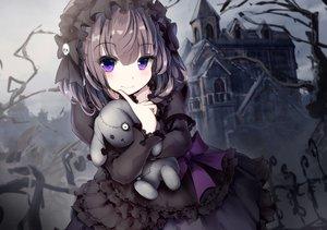 Rating: Safe Score: 176 Tags: apple228 black_hair bow building dress goth-loli headdress lolita_fashion original purple_eyes short_hair teddy_bear User: RyuZU