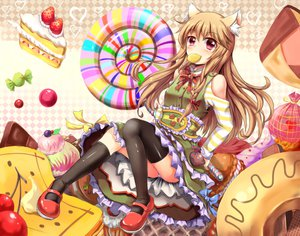 Rating: Safe Score: 82 Tags: animal_ears blush brown_hair cake candy food kulo_(5186682) lollipop original thighhighs User: FormX