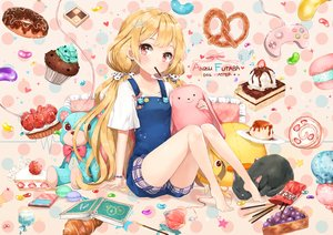 Rating: Safe Score: 206 Tags: animal barefoot blonde_hair book cake cat dangmill food fruit futaba_anzu idolmaster idolmaster_cinderella_girls long_hair pocky red_eyes shorts strawberry teddy_bear twintails User: Flandre93