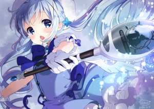 Rating: Safe Score: 50 Tags: blue_eyes blue_hair bow close gloves gochuumon_wa_usagi_desu_ka? hat kafuu_chino loli long_hair neki_(wakiko) signed twintails uniform waitress wand wings User: otaku_emmy