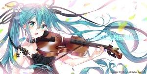 Rating: Safe Score: 41 Tags: aqua_eyes aqua_hair dress hatsune_miku instrument long_hair twintails urim_(paintur) violin vocaloid watermark User: Fepple