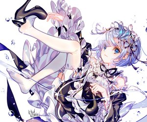 Rating: Safe Score: 42 Tags: blue_hair kiwikong maid rem_(re:zero) re:zero_kara_hajimeru_isekai_seikatsu short_hair signed thighhighs User: BattlequeenYume