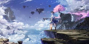 Rating: Safe Score: 118 Tags: bow cherry_blossoms clouds cloudy.r hat hinanawi_tenshi landscape long_hair petals scenic skirt sky sword touhou tree weapon User: Flandre93