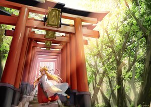 Rating: Safe Score: 20 Tags: animal_ears bell blonde_hair forest foxgirl hazuki_natsu japanese_clothes long_hair miko original red_eyes see_through signed stairs tail torii tree User: Maboroshi