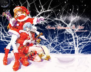 Rating: Safe Score: 32 Tags: ayanami_rei blue_eyes blue_hair boots christmas gloves hat long_hair neon_genesis_evangelion orange_hair penpen red_eyes sadamoto_yoshiyuki santa_costume santa_hat short_hair snow soryu_asuka_langley tree wand winter User: Oyashiro-sama