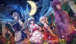 Rating: Safe Score: 175 Tags: corset dress flandre_scarlet flowers group hat hong_meiling izayoi_sakuya maid moon night patchouli_knowledge petals red_eyes remilia_scarlet ryuuzaki_ichi touhou vampire wings User: opai