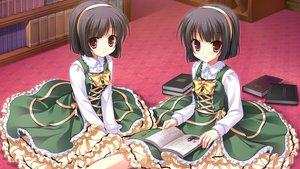 Rating: Safe Score: 70 Tags: black_hair book cabbit dress game_cg headband loli lolita_fashion midori_no_umi pink_eyes rikuno short_hair sorane twins yukie User: Katsumi