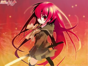Rating: Safe Score: 12 Tags: long_hair red_eyes red_hair seifuku shakugan_no_shana shana sword weapon User: Oyashiro-sama