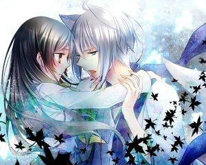Rating: Safe Score: 58 Tags: animal_ears blue_eyes brown_hair kamisama_hajimemashita male momozono_nanami orange_eyes tomoe_(kamisama_hajimemashita) white_hair yamika User: mattiasc02