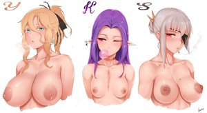 Rating: Questionable Score: 89 Tags: aqua_eyes blonde_hair blush breasts cigarette eyepatch gray_hair lactation long_hair nipples no_bra original pink_eyes ponytail purple_hair red_eyes rosaline scar smoking topless white wink User: BattlequeenYume