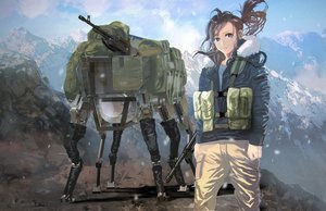 Rating: Safe Score: 66 Tags: brown_hair gun hoodie landscape long_hair mecha military ponytail robot scenic vanipo weapon User: Flandre93