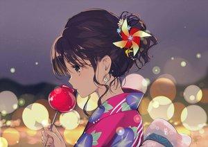 Rating: Safe Score: 84 Tags: apple brown_eyes brown_hair candy close food fruit gin_(oyoyo) japanese_clothes original signed yukata User: RyuZU