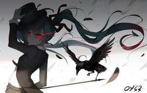 Rating: Safe Score: 73 Tags: animal bai_yemeng bird blue_hair feathers hat hatsune_miku long_hair red_eyes ribbons signed twintails vocaloid User: RyuZU