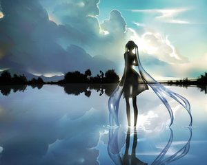 Rating: Safe Score: 97 Tags: cropped dress hatsune_miku kamachi_kamachi-ko landscape scenic see_through sky tree vocaloid water User: Wiresetc