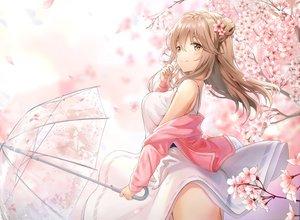 Rating: Safe Score: 95 Tags: brown_eyes brown_hair cherry_blossoms flowers long_hair l_seohui original umbrella User: mattiasc02