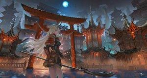 Rating: Safe Score: 92 Tags: armor building city denki horns long_hair moon night original samurai spear torii weapon white_hair yellow_eyes User: FormX