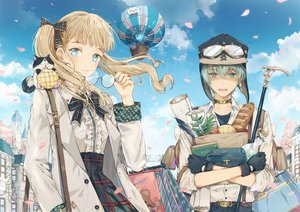 Rating: Safe Score: 47 Tags: animal aqua_eyes aqua_hair blonde_hair bow building cat clouds dangmill feathers food glasses gloves goggles hat male original petals short_hair skirt sky twintails User: RyuZU
