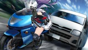 Rating: Safe Score: 14 Tags: animal cat front_wing fukami_reina game_cg grisaia:_phantom_trigger gun long_hair motorcycle purple_hair seifuku skirt watanabe_akio weapon User: RyuZU