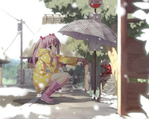 Rating: Safe Score: 132 Tags: 5_nenme_no_houkago kantoku miyaguchi_kanna original pink_hair red_eyes snow twintails umbrella User: Wiresetc