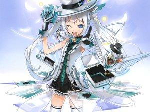 Rating: Safe Score: 194 Tags: animal bird blue_eyes gloves hat kaku-san-sei_million_arthur scan twintails white_hair wings wink yume_koreshiki User: Chihiru