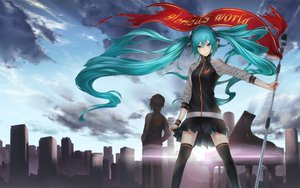 Rating: Safe Score: 119 Tags: butterfly city clouds glorious_world_(vocaloid) hatsune_miku headphones instrument long_hair microphone nidy-2d- piano sky thighhighs twintails vocaloid User: megaki11