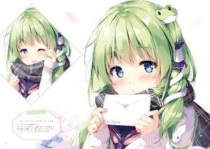 Rating: Safe Score: 86 Tags: animal blue_eyes blush close green_hair kochiya_sanae long_hair miyase_mahiro paper scan scarf school_uniform snake touhou valentine wink User: otaku_emmy