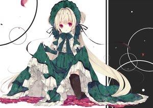 Rating: Safe Score: 84 Tags: bow dress headdress lolita_fashion long_hair original petals red_eyes ribbons skirt skirt_lift thighhighs umi_no_mizu white_hair User: otaku_emmy